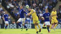 Chelsea menghadapi Leicester City pada laga pekan ke-38 Premier League di King Power Stadium, Minggu (12/5/2019). (Mike Egerton/PA via AP)