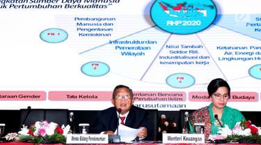 Menko Perekonomian Darmin Nasution (kiri) bersama Menteri Keuangan Sri Mulyani saat menyampaikan Rencana Kerja Pemerintah dan Nota Keuangan serta RAPBN 2020 di Jakarta, Jumat (16/8/2019). Sejumlah menteri terkait ikut hadir dalam penyampaian tersebut. (Liputan6.com/Helmi Fithriansyah)