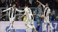 Cristiano Ronaldo merayakan gol ke gawang Atletico Madrid dalam leg kedua 16 besar Liga Champions 2018-2019 di Allianz Stadium, Rabu dini hari WIB (13/3/2019). (AFP/Filippo Monteforte)