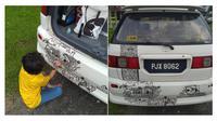 Ayah ini biarkan anaknya corat-coret mobil miliknya dengan spidol, bikin kagum warganet. (Sumber: World of Buzz)