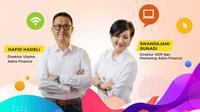 Direktur Utama Adira Finance Hafid Hadeli dan Direktur SDM & Marketing Adira Finance Swandajani Gunadi.