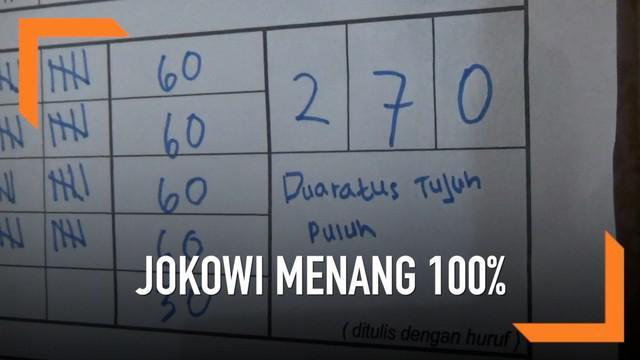 Jokowi-Ma'ruf menang 100 persen di TPS 02 Desa Jeruk, Selo, Boyolali. Dari 270 suara, semuanya memilih pasangan no urut 01.