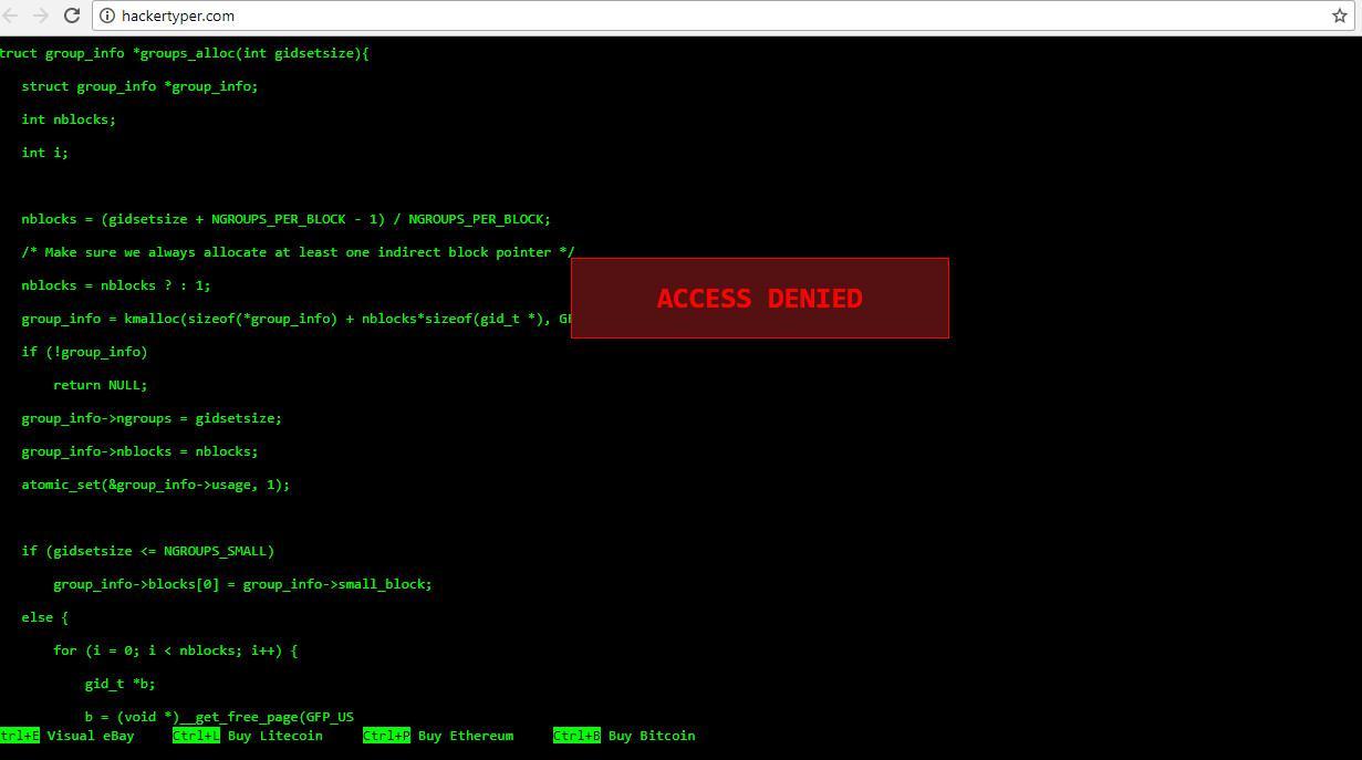 Berpura-pura jadi hacker lewat situs Hacker Typer (Sumber: Hacker Typer)