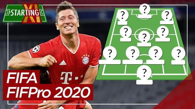 Berita motion grafis Starting XI terbaik FIFA FIFPro 2020. Dominasi pemain Bayern Munchen dan Liverpool.