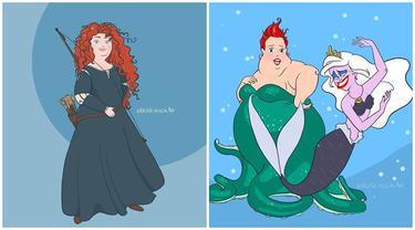 7 Ilustrasi Karakter Disney Jadi Model Plus Size Ini Tetap Memesona