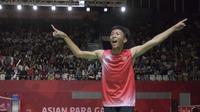 Ekspresi Deva Anrimusthi atlet bulutangkis Indonesia di Asian Paragames 2018  di Istora Senayan, Minggu (7/10/2018).  (Bola.com/Peksi Cahyo)