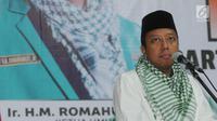 Ketua Umum PPP Romahurmuziy memberi sambutan dalam Mukerwil II di Jakarta, Sabtu (21/4). Mukerwil II PPP DKI Jakarta bertekad memenangkan PPP di Ibu Kota dalam Pemilu 2019. Merdeka.com/Dwi Narwoko)