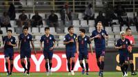 Timnas Thailand saat melawan India pada matchday pertama Grup A Piala Asia 2019 (6/1/2019) di Al Nahyan Stadium, Abu Dhabi. ((AFP/Khaled Desouki)