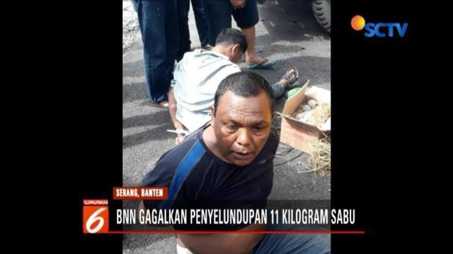 BNN gagalkan upaya penyelundupan 11 kilogram sabu di Serang, Banten, yang akan dibawa ke Jakarta. Dua orang tersangkan dan sejumlah barang bukti diamankan.