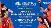 Live Streaming Pertandingan Big Match VNL 2021 Jumat 18 Juni di Vidio. (Sumber : dok. vidio.com)