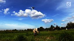 Pesawat melintas saat Suwandi (80) mencari rumput di perkebunan Kalimalang, Jakarta, Jumat (4/1). Suwandi mencari rumput untuk makan ternak sapi dengan upah Rp 5000 per ikat. (Merdeka.com/Imam Buhori)