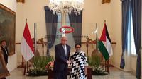 Menteri Luar Negeri Palestina Riyad al-Maliki dan Menteri Luar Negeri RI Retno Marsudi di Kemlu RI, Jakarta (16/10) (Rizki Akbar Hasan / Liputan6.com)