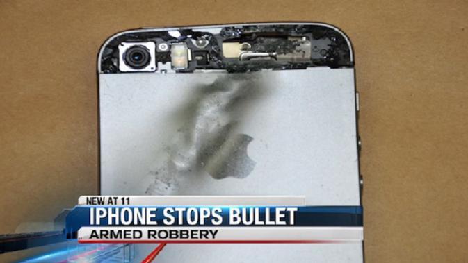 Bagian iPhone yang terkena peluru (sumber : bgr.com)
