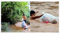 Seorang ayah rela seberangi sungai berlumpur dan lindungi anaknya agar bisa sekolah (Sumber: World of Buzz)