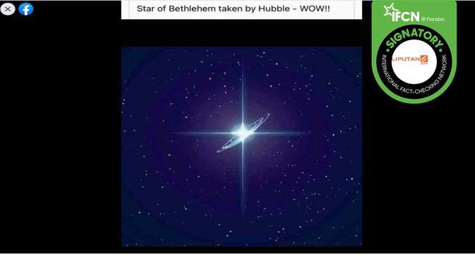 Foto dengan klaim bintang Natal yang ditangkap teleskop Hubble. (Facebook)