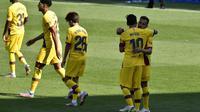 Selebrasi pemain Barcelona di laga pamungkas La Liga 2019-2020 (AP)