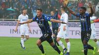 Selebrasi Pemain Atalanta Hans Hateboer saat Atalanta bertemu Inter Milan (AP)
