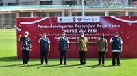 Konferensi pers Pemprov DKI Jakarta, PSSI, dan KONI Pusat terkait Jakarta International Stadium (JIS). (Istimewa).