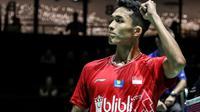 Tunggal putra Indonesia, Jonatan Christie, di Kejuaraan Dunia Bulutangkis 2019 yang digelar di Basel, Swiss. (PBSI)
