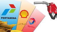 Ilustrasi Bahan Bakar Minyak Pertamina-Shell-Total (Liputan6.com/Andri Wiranuari)