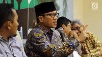 Anggota MPR F-PAN Yandri Susanto berbicara dalam diskusi Empat Pilar MPR di Jakarta, Senin (5/11). Diskusi mempersoalkan peran pemerintah terhadap TKW Tuti Tursilawati yang dihukum mati di Arab Saudi. (Liputan6.com/JohanTallo)