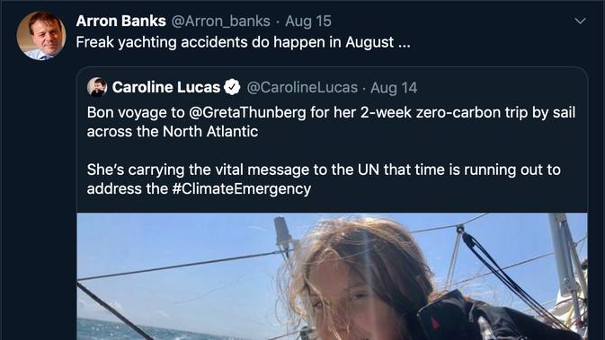 Arron Banks mencuitkan kritik pada Greta Thunberg melalui Twitter pada Kamis (15/8/2019).
