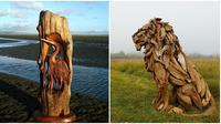 Karya seni pahat dari kayu tak terpakai (Sumber: Boredpanda)