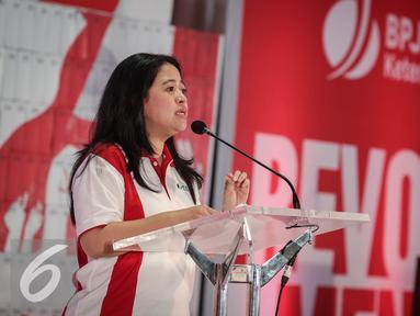 Menteri PMK, Puan Maharani memberikan sambutan saat acara Deklarasi Revolusi Mental di BPJS Ketenagakerjaan, Jakarta, Rabu (23/3). BPJS Ketenagakerjaan dapat menjadi pelopor perubahan dalam Gerakan Nasional Revolusi Mental. (Liputn6.com/Faizal Fanani)