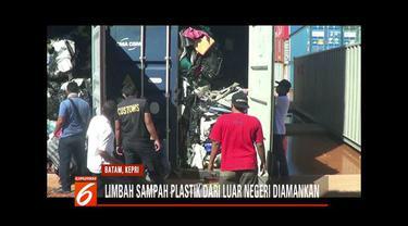 Bea Cukai dan Dinas Lingkungan Hidup Pemkot Batam amankan kontainer berisi limbah plastik dari Amerika Serikat.
