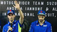 Andrea Iannone dan Alex Rins tidak sabar menantikan MotoGP di Indonesia. (Bola.com/Asprilla Dwi Adha)