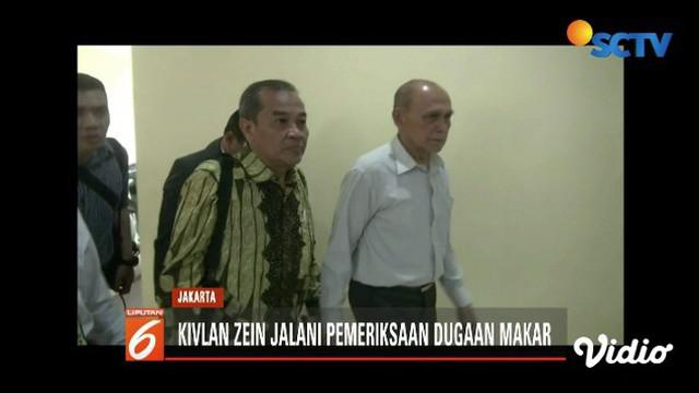 Purnawirawan TNI Kivlan Zein jalani pemeriksaan terkait dugaan makar dan hoaks di Polda Metro Jaya.