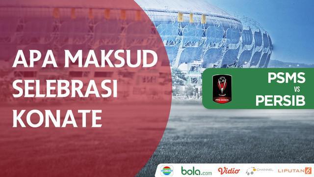 Makan Konate melakukan selebrasi emosional saat Sriwjaya FC menghadapi PSM Makassar.