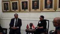 Menteri Luar Negeri Papua Nugini Rimbink Pato dan Menteri Luar Negeri RI Retno Marsudi di Kemenlu RI (19/7/2018) (Rizki Akbar Hasan / Liputan6.com)