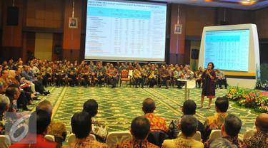Menteri Keuangan Sri Mulyani Indrawati memberikan arahan kepada jajaran pejabat Kementerian Keuangan Eselon I dan II dalam rangka Rapat Kerja Nasional (Rakernas) Kementerian Keuangan, Jakarta, Selasa (10/1).  (Liputan6.com/Angga Yuniar)