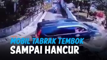 VIDEO: Mobil Tabrak Pagar Tembok Sampai Hancur, Pengemudinya Kenapa?