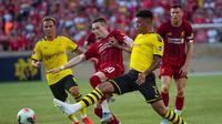 Liverpool menelan kekalahan 2-3 dari Borussia Dortmund dalam laga pramusim di Notre Dame Stadium, Indiana, Sabtu (20/7/2019) pagi WIB. (Michael Caterina/South Bend Tribune via AP)
