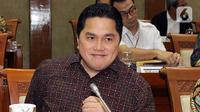 Menteri Badan Usaha Milik Negara (BUMN) Erick Thohir mengikuti rapat dengan Komisi VI DPR, di kompleks Parlemen, Jakarta, Senin (2/12/2019). Rapat tersebut membahas Penyertaan Modal Negara (PMN) pada Badan Usaha Milik Negera tahun anggaran 2019 dan 2020. (Liputan6.com/Johan Tallo)