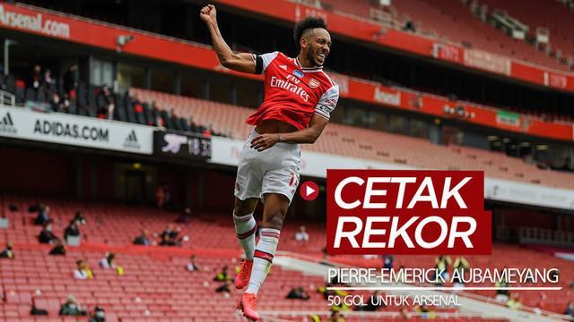 Berita video striker Arsenal, Pierre-Emerick Aubameyang, mencetak rekor 50 gol di Premier League.