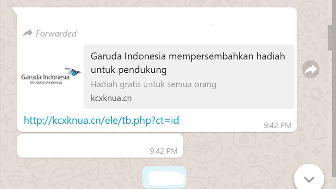 Cek Fakta Liputan6.com menelusuri informasi Garuda Indonesia memberi hadiah gratis dengan mengisi survei