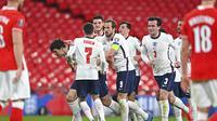 Timnas Inggris meraih kemenangan 2-1 atas Polandia pada laga ketiga Grup I kualifikasi Piala Dunia 2022 di Stadion Wembley, Kamis (1/4/2021) dini hari WIB. (Andy Rain/Pool via AP)