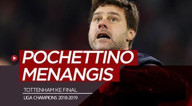 Berita video Manajer Tottenham Hotspur, Mauricio Pochettino, yang menunjukkan reaksi emosional setelah timnya menang dramatis 3-2 atas Ajax pada semifinal leg kedua Liga Champions 2018-2019.