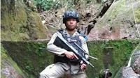 Anggota Satuan Brigade Mobile (Sat Brimob) Polda Gorontalo Brigadir Herik Kriswanto Daud meninggal saat melaksanakan tugas kemanusiaan di Palu, Sulawesi Tengah, Selasa (13/11). (Liputan6.com/Arfandi Ibrahim)