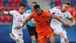 Cody Gakpo (tengah) dapat berlari hingga kecepatan 33,6 km/jam di Euro 2020. Ia merupakan pemain Timnas Belanda yang bermain di posisi sayap kiri. (Foto: AFP/Pool/Ferenc Isza)