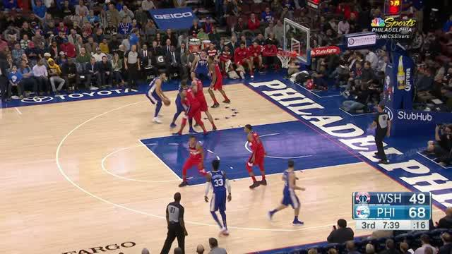 Ben Simmons records a double-double (31 points, 18 rebounds) and Joel Embiid adds a double-double of his own (25 points, 14 rebounds) as the 76ers survived the Hack-a-Shaq late in the fourth quarter to beat the Wizards, 118-113.