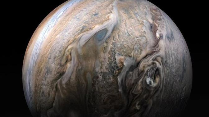 Awan Jupiter. (NASA/JPL-CALTECH/SWRI/MSSS/KEVIN M. GILL)