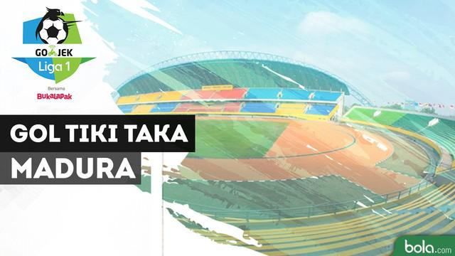 Bayu Gatra mencetak gol cantik saat Madura United menghadapi Barito Putera.