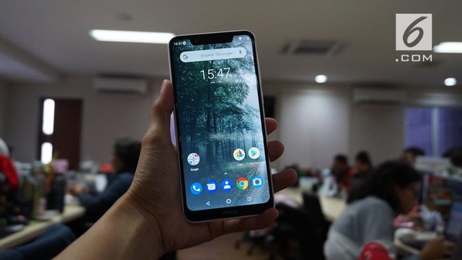 Tampilan depan Nokia 5.1 Plus, dengan antarmuka Android One versi Android Pie (Liputan6.com/ Agustin Setyo W)