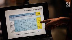 Layar komputer menunjukkan salah satu hasil rilis LSI Denny JA 'Pergeseran Dukungan Partai Politik di 6 Kantong Suara' di Jakarta, Rabu (20/2). Hasil survey menyebutkan PDIP masih paling unggul di kantong Pemilih Muslim. (Liputan6.com/Faizal Fanani)