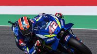 Pembalap Suzuki Ecstar, Alex Rins, menyusukuri catatan finis keempat setelah mengawali MotoGP Italia dengan start di posisi yang kurang menguntungkan. (AFP/Tiziana Fabi)