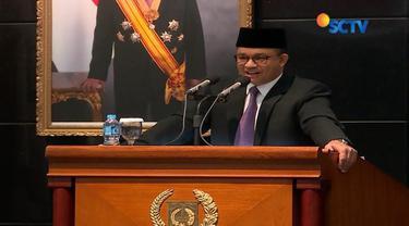 APBD DKI disahkan senilai lebih dari Rp 77 triliun, Gubernur Anies Baswedan sampaikan pantun.